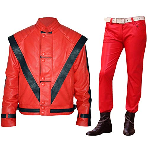 Mens MJ Michael Jackson Thriller Red Faux Leather Jacket Costume ()