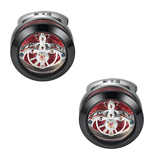 Dich Creat Men's Stainless Steel Titanium Tourbillon Cufflinks with Carbon Fiber Backing (Black/Silver) ()