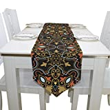 Blue Viper Floral In Arabian Style Table Runner Home Décor for Weddings, Dinners, Parties, or Summer BBQ Double-Sided Printing 13x90 Inches