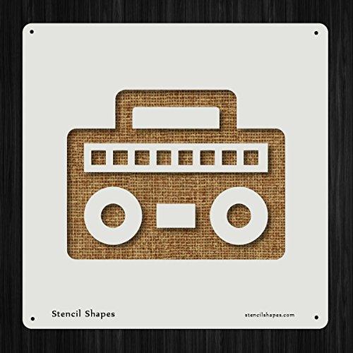 Radio Musical Box Boombox Boom80s Style 17414 DIY Plastic Stencil Acrylic Mylar (Musical Boombox)