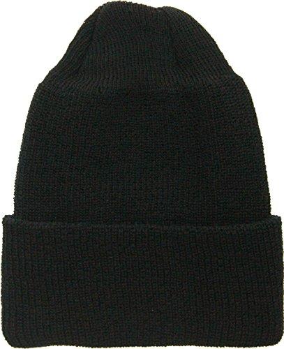Military Genuine GI Winter USN Warm Wool Hat Watch Cap (Black)
