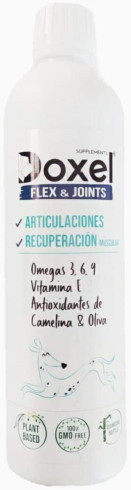 Doxel Flex and Joints 500ml| Aceite para Perros| Suplementos Naturales nutricionales| Antioxidantes| Recuperación Muscular Articulaciones |Sistema inmunitario Reforzado| Canicross| Agility| Mushing