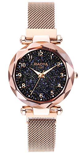 Gold Mesh Buckle - Jechin Fashion Women's Bling Starry Sky Wristwatch Magnetic Buckle Mesh Belt Rose Gold Quartz Bracelet Watch (Pink)