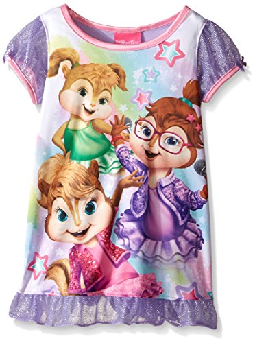 Alvin and the Chipmunks Little Girls Star Power Chipette Nightgown, Purple, 3T