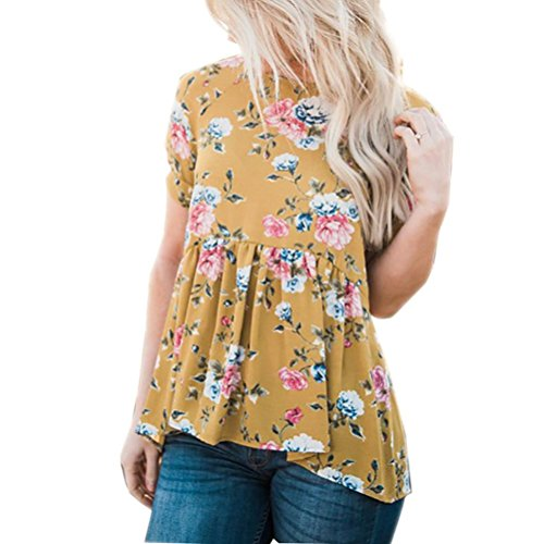 Meyerlbama Women Summer Short Sleeve Floral Printed Swing Crewneck Blouse Casual Peplum Tops Tunic T Shirt (XL, Yellow)