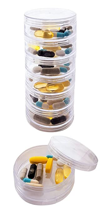 Superior Stackable 7 Day Clear Pill Organizer With 2 Lids And A Set Of Labels (Large Amazing Ideas