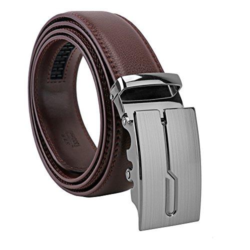 Modern Embossed Belt (Men's Genuine Leather Belt Designer Belts for Men Ratchet Dress Belt 35mm Wide with Automatic Slid Buckle in A Fashion)