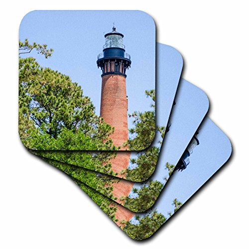 3dRose cst_259804_3 Currituck Beach Lighthouse, Corolla, Outer Banks, North Carolina, USA set of 4 Ceramic Tile Coasters