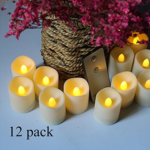 NeheartE Bright Flickering Battery Operated Flameless LED Candles Tea Light with Remote Fake Candles,Warm White Led Candle Light for Wedding Home Decor Birthday Party (12pcs)