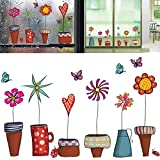 Money coming shop Cute Cartoon Flower Butterfly wall Stickers DIY Decal Window glass Wall decor Home Decoration kids children room decor