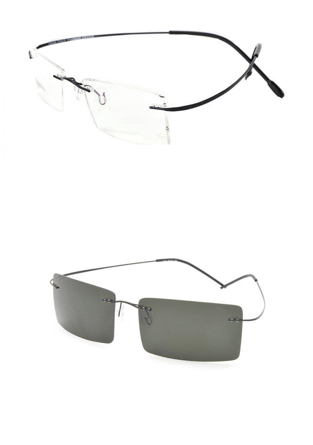 Rimless Titanium Frame Photochromic (light-adjusting) Lenses eyeglasses(Rectangular black£¬change gray)