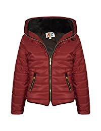 Girls Jacket Kids Padded Puffer Bubble Fur Collar Quilted Warm Thick Coats 3-13 Y