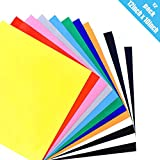 """Heat Transfer Vinyl - 12"""" x 10"""" - 12 Sheets - Iron On HTV for T Shirts (10 Colors)"""