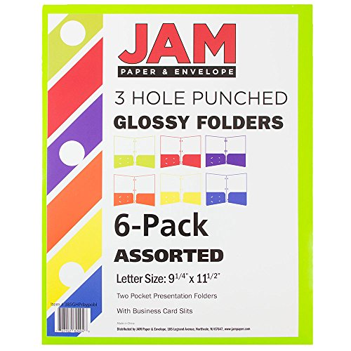 JAM Paper Laminated Two Pocket Glossy 3 Hole Punch Folders - Assorted Primary Colors - 6/pack by JAM Paper (Image #2)