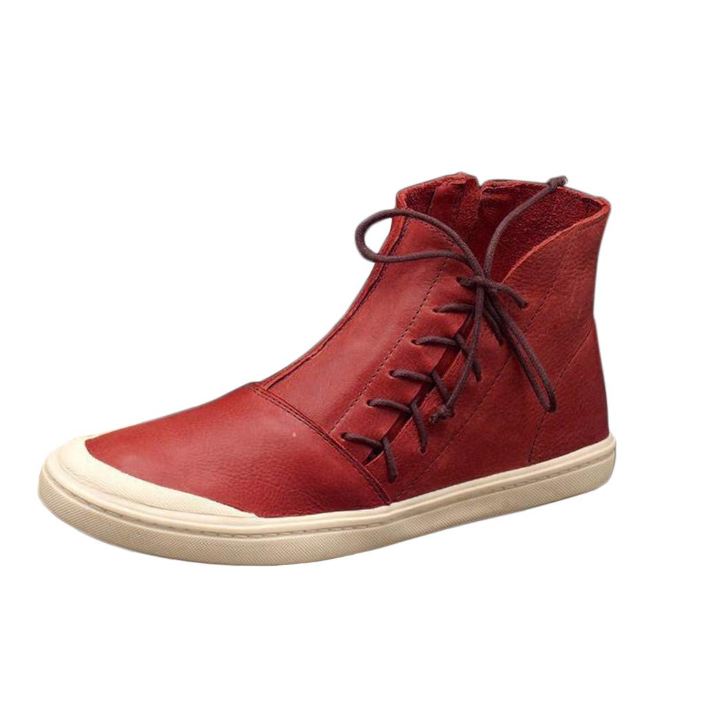 Women Vintage Retro High-Top Short Ankle Boots Casual Side Zipper Lace-up Flat Booties Round Toe Shoes Size 4.5-11.5 (US:11.5, Red) by Aritone - Women Shoes