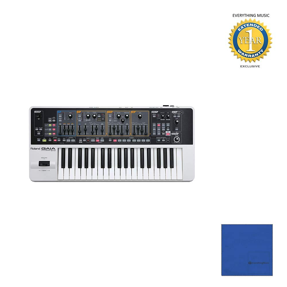 Roland GAIA SH-01 37-key Virtual Analog Synthesizer with Official Roland Brand Dust Cover with Microfiber and 1 Year Everything Music Extended Warranty by Roland