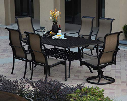Patio Dining Set. Contemporary, Outdoor, Medium Furniture Kit Of Cast Aluminum For Porch, Deck, Lawn, Pool, Garden, Balcony Diner, 6 Person. Outside, Rectangle Table, Sling Chairs (Antique Bronze)