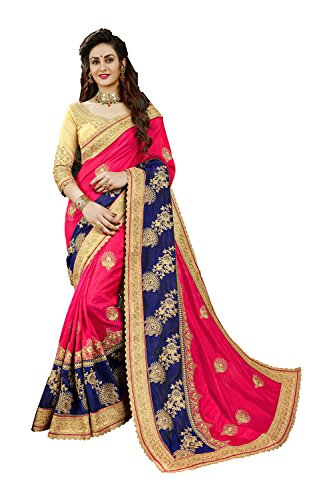 Indian Sarees for Women Wedding Designer Party Wear Traditional Red & Nevy blueSari.