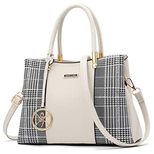 Women Purses and Handbags Top Handle Satchel Shoulder Bags Messenger Tote Bag For Ladies (p-White)