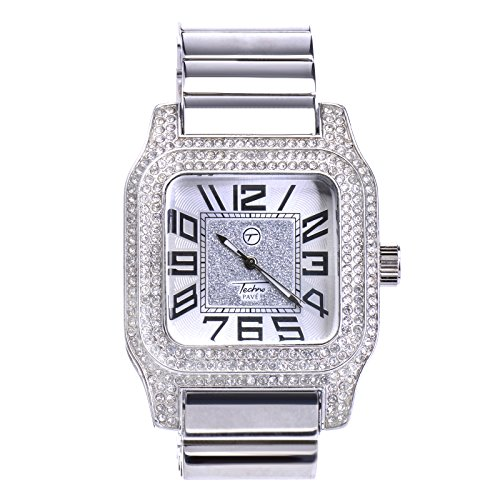 Plated Square Dial (Men's Iced Out Square Silver Plated CZ Metal Band Techno Pave Watches WM 7970 S)