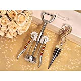 Stylish Murano Swirl Design Gold and White Bottle Stopper and Opener Set - 84 Sets