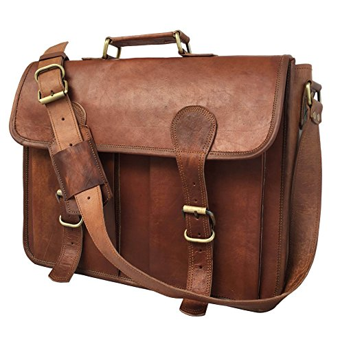 """KK'S 16"""" INCH LEATHER MESSENGER BAGS LEATHER LAPTOP BAGS LEATHER OFFICE BAG VINTAGE LEATHER BROWN LEATHER BAGS FOR MEN AND WOMEN"""