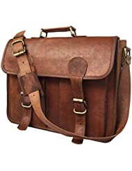 KKS 16 INCH LEATHER MESSENGER BAGS LEATHER LAPTOP BAGS LEATHER OFFICE BAG VINTAGE LEATHER BROWN LEATHER BAGS...