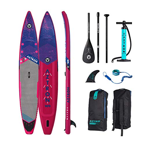 Aztron Meteor Inflatable SUP Race 14' Double Chamber & Layer with Adjustable Aluminum Paddle and Leash
