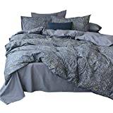 AMWAN Star Universe Print Cotton Duvet Cover Set Queen 3 Piece Modern Reversible Bedding Cover Set Hotel Quality Luxury Bedding Collection Ultra Soft Full Queen Duvet Comforter Cover Set