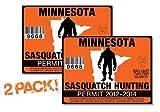 Minnesota-SASQUATCH HUNTING PERMIT LICENSE TAG DECAL TRUCK POLARIS RZR JEEP WRANGLER STICKER 2-PACK!-MN