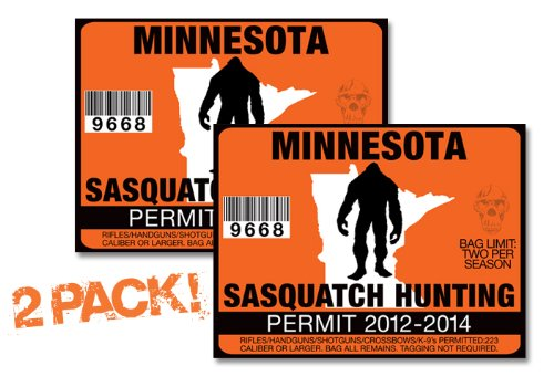Minnesota-SASQUATCH HUNTING PERMIT LICENSE TAG DECAL TRUCK POLARIS RZR JEEP WRANGLER STICKER 2-PACK!-MN