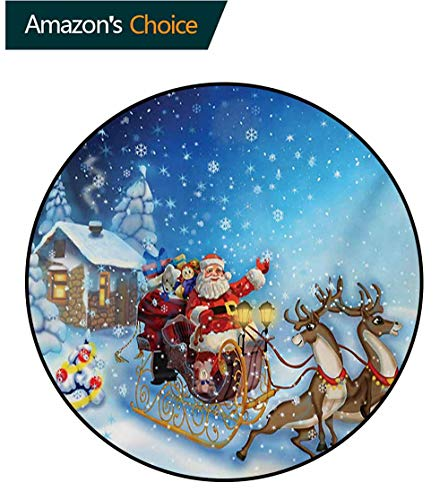 RUGSMAT Christmas Non-Slip Area Rug Pad Round,Santa in Sleigh with Reindeer and Toys in Snowy North Pole Tale Fantasy Image Protect Floors While Securing Rug Making Vacuuming,Round-59 - Sleigh High Chair