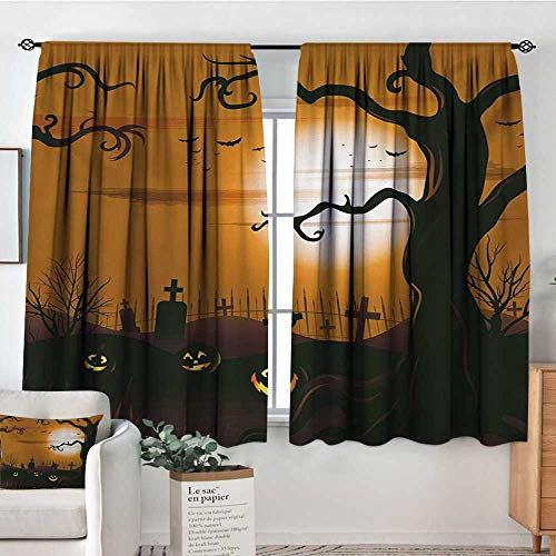 Halloween Room Darkening Curtains Leafless Creepy Tree with Twiggy Branches at Night in Cemetery Graphic Drawing Drapes for Living Room 63