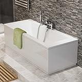 1700 mm Luxury Square Double Ended Bath Modern Straight White Bathroom Bathtub
