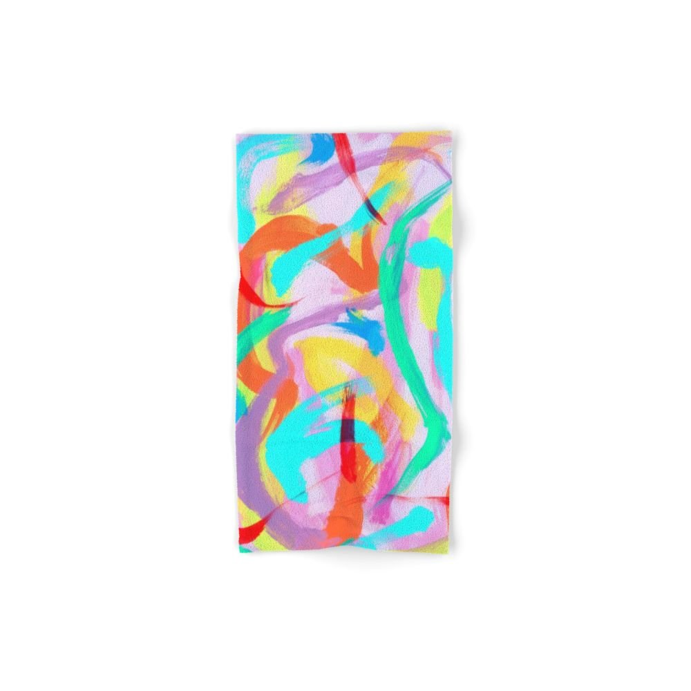 Society6 DANCE ALL NIGHT Original Abstract Painting By Lenna Arty Set of 4 (2 hand towels, 2 bath towels)
