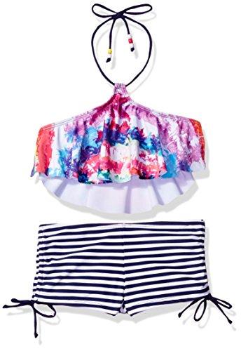 Price comparison product image Big Chill Girls' Palm Tree Stamp Print Bikini,  Pink,  7 / 8