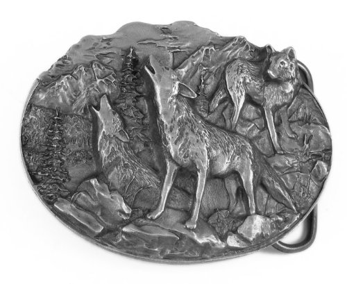 Wild Wolf Pack Howling Pewter Belt Buckle