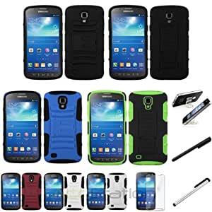 XMAS SALE!!! Hot new 2014 model Color Hybrid Stand Case+Clear SP+Stylus+Holder For Samsung Galaxy i537 S4 ActiveCHOOSE COLOR