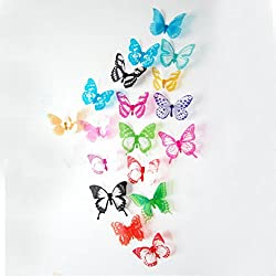 Start 18pcs Multicolor Butterfly Wall Sticker Art Decor Decal Stickers Home Murals Wallpaper