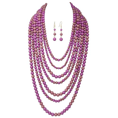 Jewel Tone Necklace Set (7 Row Long Layered Imitation Pearl Bead Statement Necklace Earrings Set (Purple Tones))