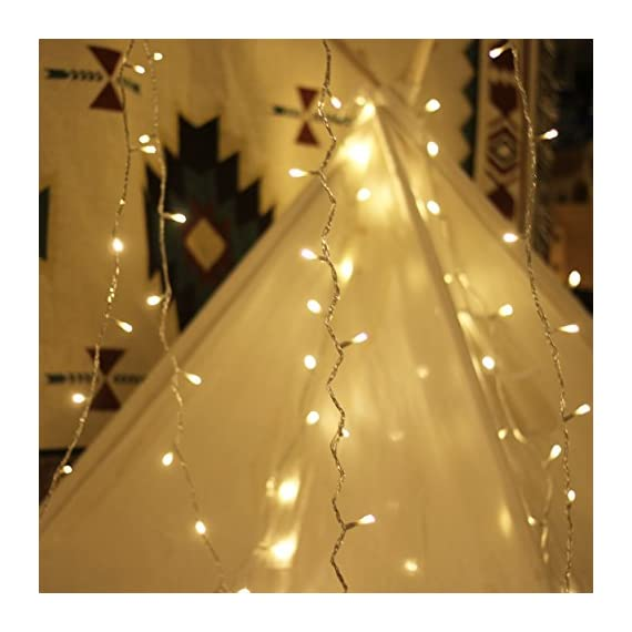 LED String Lights, by myCozyLite, Plug in String Lights, 49Ft 100 LED Warm White Lights with Timer, Waterproof, Perfect for Indoor and Outdoor use with 30V Low Voltage Transformer, Extendable - String Lights - Premium quality hanging lights with timer and plug, 15m long clear wire(10m String Lights, 5m Lead Wire), 30V low voltage transformer with 7.2W Rated Power. 8 Functions plus timer and memory Timer & Memory - Auto Timer Allows a Simple Press and Go, 6 Hours Running and 18 Hours Off Following by another 6 Hours Running, 24 Hours Cycling. Built-in Memory Chip will save the function till the next time light up. Extension - Connectable small string lights with male and female safe plug to fit different size Christmas trees and garlands, or to decorate patio, porch, backyard - patio, outdoor-lights, outdoor-decor - 51rgnxXUPtL. SS570  -