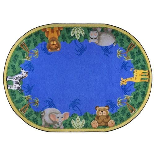 Joy Carpets Kid Essentials Infants & Toddlers Oval Jungle Friends Rug, Multicolored, 3'10