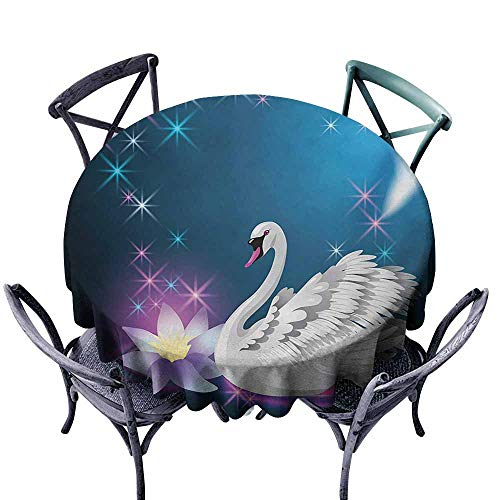 VIVIDX Spill-Proof Table Cover,Swan,Magic Lily and Fairy Swan at Night Swimming in Lake Under Moon and Stars Picture Art,for Events Party Restaurant Dining Table Cover,35 INCH,Blue -