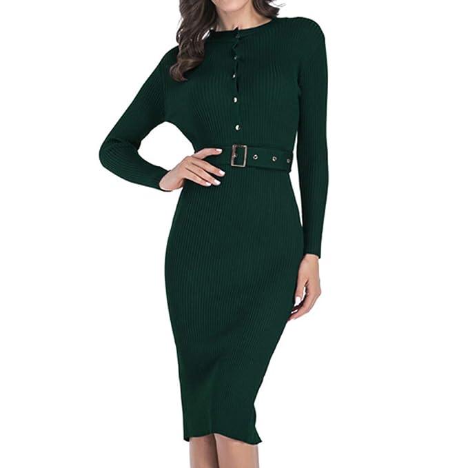 Damen Kleid Langarmkleid Minikleid Party Bodycon Pullover Strickkleid XL Paket