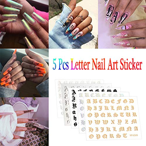 Nail Sticker Decals Supplies DIY Professional 5PCS Leaf Tape Nail Art Foil Stickers Transfer Adhesive Nail Sticker Acrylic Nail Art Accessories Nail Decoration for Women Girls (Fall Outline Leaf)