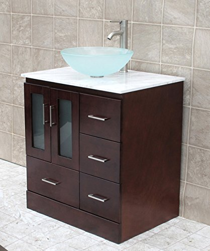 Charmant Solid Wood 30u0026quot; Bathroom Vanity Cabinet Glass Vessel Sink Faucet MO5