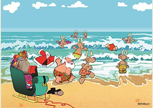 UPC 871887002674, Cowabunga Santa and Reindeer Romping in Waves at Beach 18 Box Holiday Cards