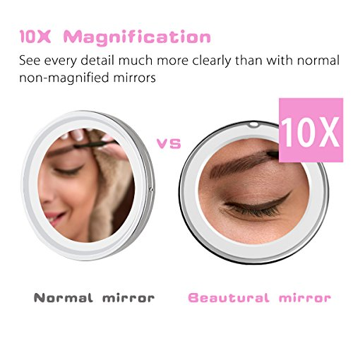 Beautural-10X-Magnifying-Lighted-Vanity-Makeup-Mirror-with-Natural-White-LED-360-Degree-Swivel-Rotation-and-Locking-Suction-689inches