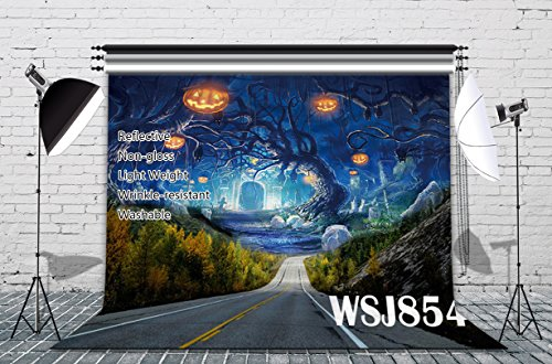 LB 7x5ft Pumpkin Lamp New Material Cotton Halloween Photography Backdrop Customized Photo Background Studio Prop (Mat Till Halloween)