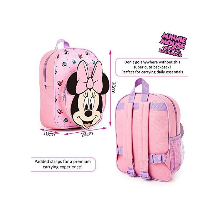 51rgpKrzE9L MOCHILA ESCOLAR DE MINNIE --- ¡El mejor regalo para todos los fans de las películas de Disney! Esta bonita mochila de color rosa en diseno 3D es perfecta tanto para ir al colegio como para ir de vacaciones. Presenta a tu personaje favorito de Disney Minnie Mouse y su famoso lazo. Tiene espacio suficiente para libros, ropa o juguetes y viene con correas acolchadas para mayor comodidad. MERCHANDISING OFICIAL DE DISNEY --- Nuestras mochilas escolares de Disney tienen licencia oficial, por lo que no se preocupe, cuando compra a través de nosotros está adquiriendo un producto de calidad. GRAN CAPACIDAD --- Esta mochila clásica de Disney tiene espacio suficiente para guardar material escolar, juguetes, el almuerzo o un cambio de ropa. Cuenta con un compartimento principal con cremallera, un bolsillo lateral de malla para bebidas, y un pequeño bolso en la parte delantera que pueden usar a modo de estuche escolar.